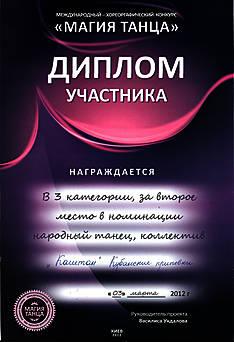 """Міжнародний хореографічний конкурс """"Магія танцю"""", II місце """"Кубанські переспіви"""""""
